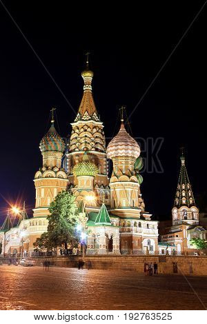 Saint Basil`s Cathedral at night in Moscow, Russia