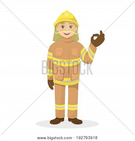 Isolated ok fireman on white background. Man in orange uniform.
