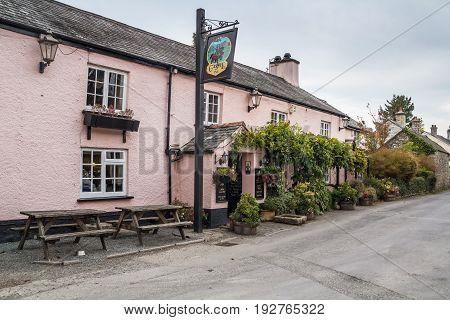 Lydford Devon England 23 October 2016: Castle Inn pub in Lydford village. Dartmoor National Park