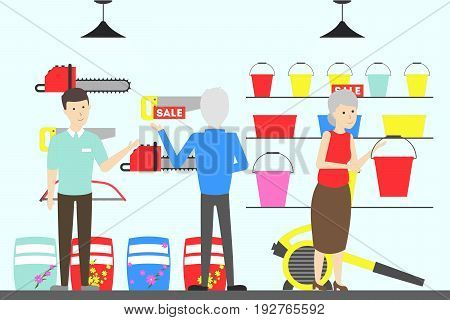 Home and garden store interior. Furniture and garden tools.