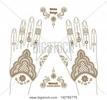 Vector henna tattoo hands background. Mehendi ornament design. Indian ethnic style ornate pattern. EPS 10 illustration isolated on white.