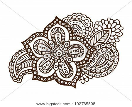 Hand-drawn mehendi style floral ornament. indian tattoo with flower. EPS 10 vector illustration. Isolated on white.