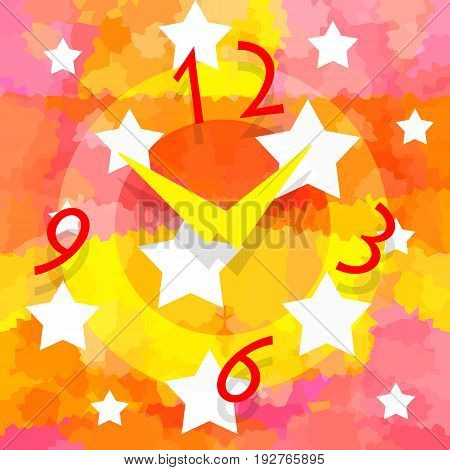 Magic clock and stars on abstract bright colorful background