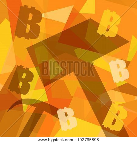 Bitcoins mining background with working tools and bitcoin symbols