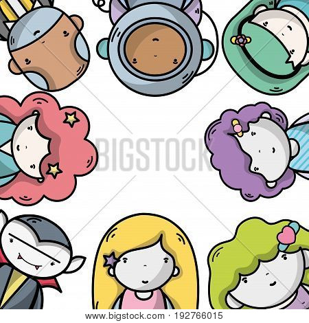 people together to kawaii avatar icon vector illustration