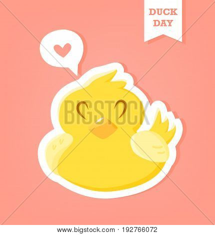Sticker with rubber duck and heart in cloud on pink background. Duck Day poster. Vector.
