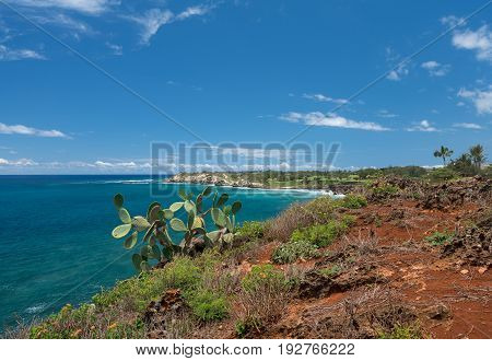 Makawehi bluff near Poipu on south coast of Kauai in Hawaii