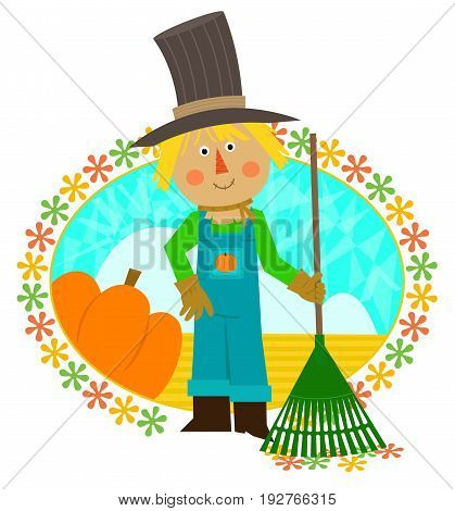 Cute scarecrow with a rake is standing in front of a field and a pumpkin. Eps10