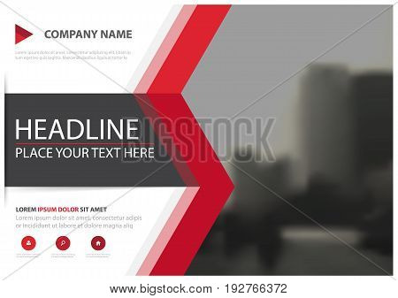 Red triangle business brochure flyer cover vector design Leaflet advertising abstract background Modern poster magazine layout template Horizontal annual report for presentation.