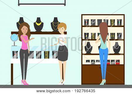 Jewelry store interior on white background. Women buy jewelries.