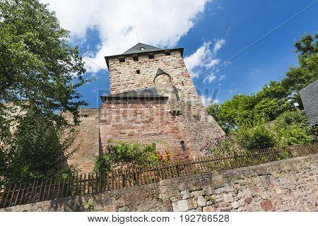 The residence tower and garden of the castle Burg Nideggen in the Eifel Germany poster