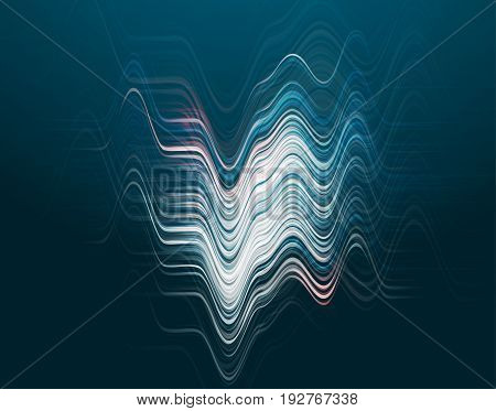 Vector illustration of abstract blue wave background with horizontal futuristic blue lines, peaks and cavity, light and shadow effect, dynamic surface in realistic 3d style