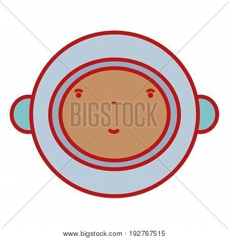 nice astronaut face with equipment to kawaii avatar vector illustration