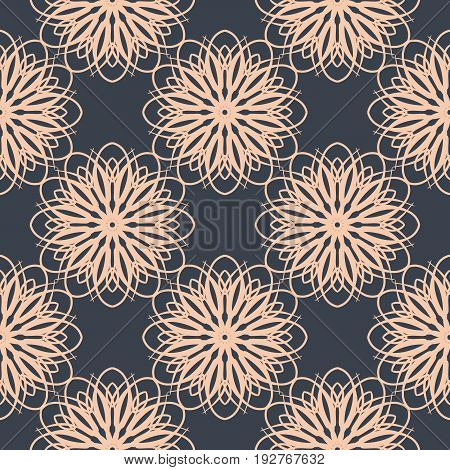 Contrasting floral pattern. Seamless background with flowers in dark blue and light pastel pink colors. Repeating pattern for web design. Vector background