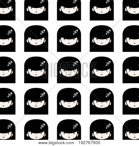 beauty girl face with hairstyle to kawaii avatar background vector illustration