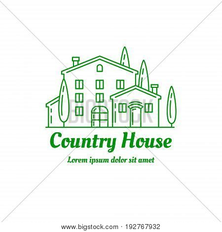 Country house icon design. Сountryside villa logo template. Line art illustration. EPS 10 vector. Isolated on white.