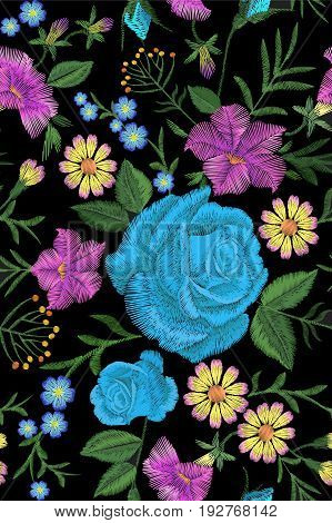 Floral Blue Rose Embroidery Seamless Pattern. Vintage Victorian Flower Ornament Fashion Textile Deco
