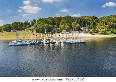 Eschauel Beach At Lake Rursee In Germay, Editorial