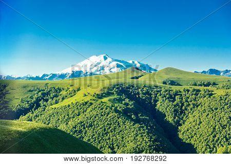Horizontal summer landscape with highest top of Europe Elbrus
