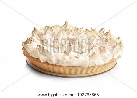 Tasty lemon meringue pie on white background