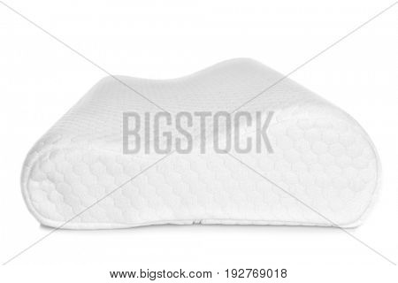 Orthopedic pillow on white background. Physiotherapy concept