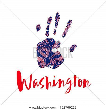 Handcraft logo in the colors of the USA flag. Pattern of contour maps design on a trace human hand. Silhouette of a hand print with a topographic map. Red and blue color. Mapping logotype.