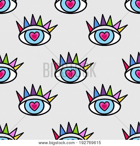 Pattern in the style of psychedelic eyes. Closed and open eye.