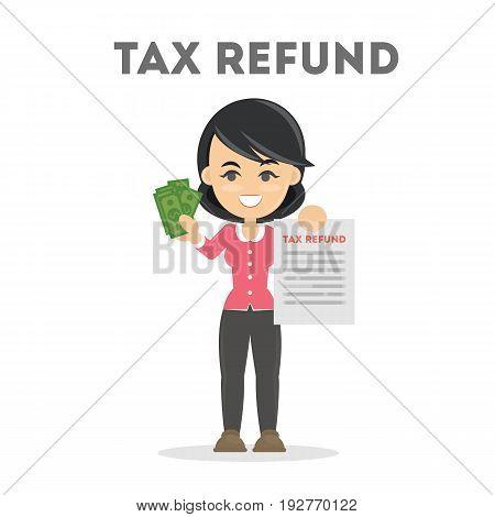Tax refund document. Taking money back. Happy businesswoman on white background.