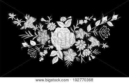Floral Monochrome White Rose Embroidery Neckline Arrangement. Vintage Victorian Flower Ornament Fash
