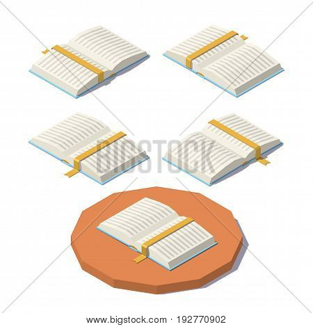 Isometric open book from different angles isolated on white background. Vector low poly illustration.