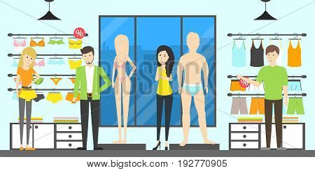 Underwear interior set. People and salesmen. Buying and selling.
