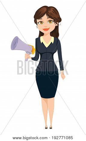 Businesswoman standing with speaker. Cute cartoon character. Vector illustration isolated on white background
