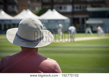Cricket fan in sun hat enjoying the action