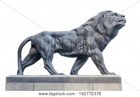 Big ancient archeology statue of lion isolated on white