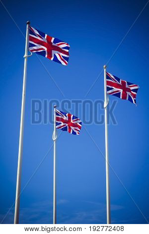 Trio of Union Jack Great Britain flags