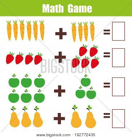 Mathematics educational game for children. Learning addition worksheet for kids, counting activity