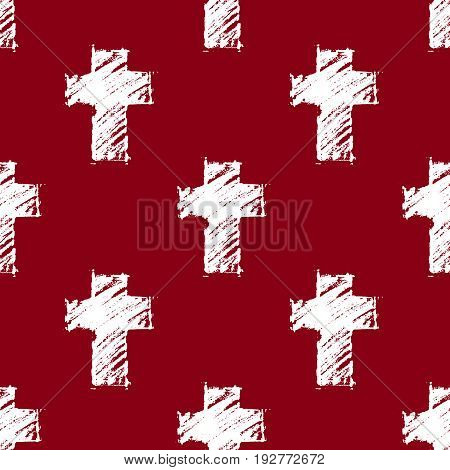 Vector seamless pattern with hand drawn white crosses on a dark blood-red background