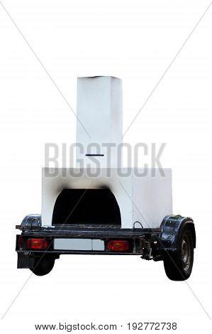 Interesting furnace car trailer for shish kebab