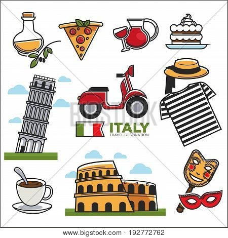 Italian traditional symbols colorful vector collection on white. National food and clothes of Italy with signs of popular transport and art kinds, architectural sightseeings, map for travellers