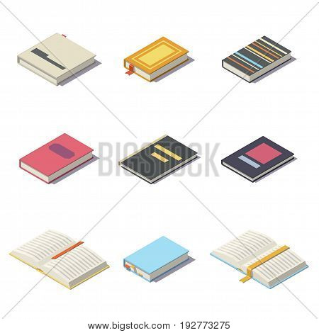Isometric books isolated on white background. Vector low poly illustration.