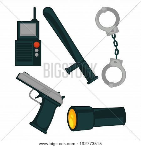 Radio set, rubber baton, metal handcuffs, loaded pistol and battery-powered flashlight isolated vector illustrations on white background. Policemans basic equipment for successful duties execution.