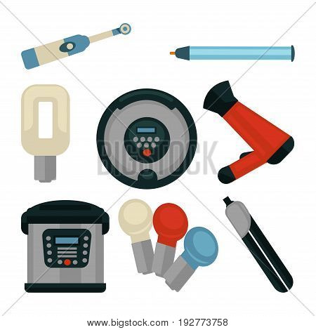 Electrical appliances isolated vector illustrations. Hairdryer with attachment, rotating toothbrush, cigarette lighter, small illuminators, hair straightener, kitchen steamer and round waffle-iron.