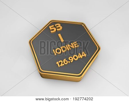 Iodine - I - chemical element periodic table hexagonal shape 3d render
