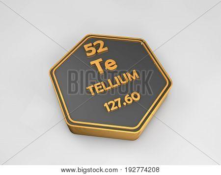 Tellium - Te - chemical element periodic table hexagonal shape 3d render