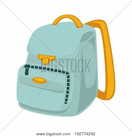 Light blue backpack with yellow slings, lot of pockets and zipper isolated vector illustration on white background. Bag for students and schoolchildren that can carry lot of books and notebook.