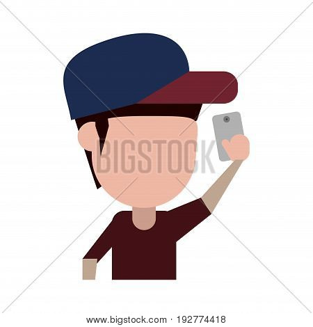 faceless man with hat  using smartphone icon image vector illustration design