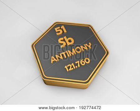 Antimony - Sb - chemical element periodic table hexagonal shape 3d render