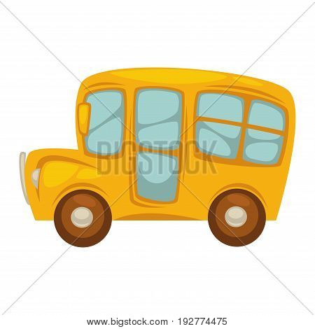 Cartoon shiny yellow bus with big windows, brown wheels, rearview mirrors and round spotlights isolated vector illustration on white background. Cute compact bus for comfortable way to school.