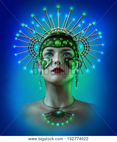 3d computer graphics of a woman with an illuminated headdress and jewelry