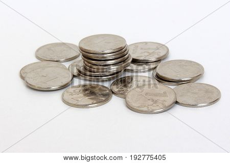 coins of 1 ruble on white background